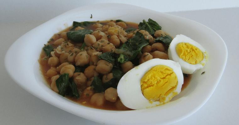 Potaje vegetariano de garbanzos con espinacas