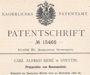 Patentschrift von 1880