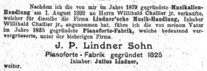 Lindner, Übergabe