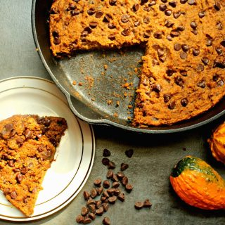 Pumpkin Chocolate Chip Skillet Cookie