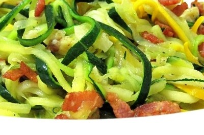 Stir-Fried Zucchini Noodle with Bacon and Parmesan (Atkins Diet Phase 1 Recipe)