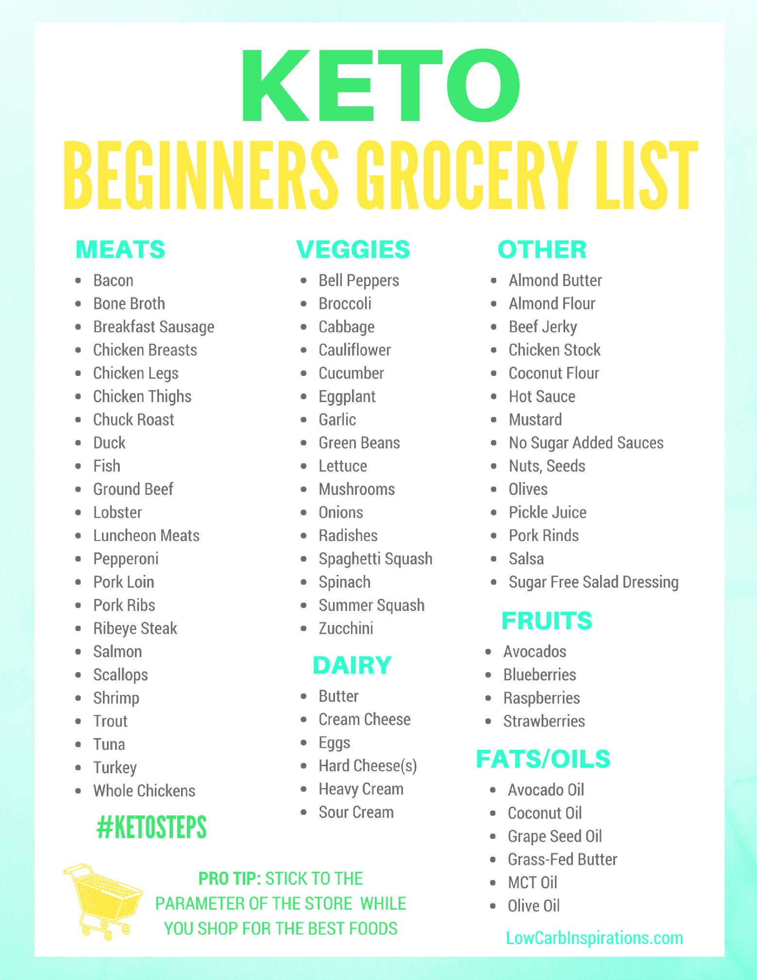 Atkinst Meal Plan And Shopping List