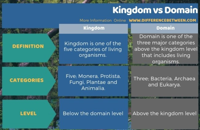 Difference Between Kingdom and Domain in Tabular Form