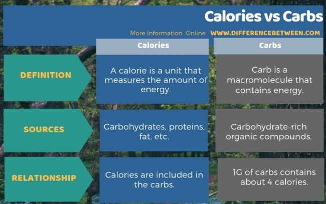 Difference Between Calories and Carbs in Tabular Form