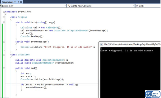 Key Difference Between Delegates and Events in C#