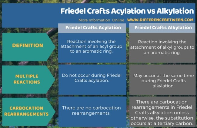 Difference Between Friedel Crafts Acylation and Alkylation in Tabular Form