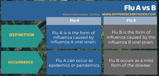 Difference Between Flu A and B in Tabular Form