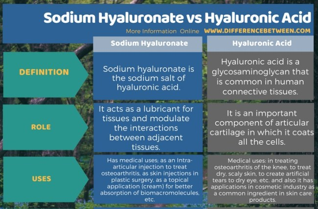 Difference Between Sodium Hyaluronate and Hyaluronic Acid in Tabular Form