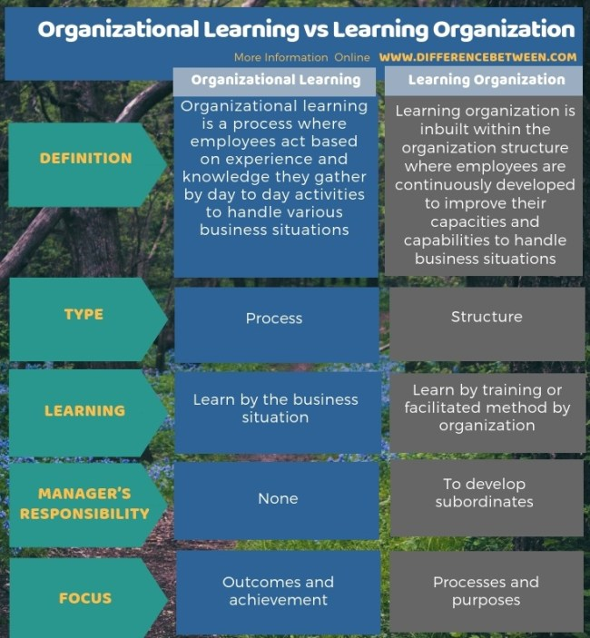 Difference Between Organizational Learning and Learning Organization in Tabular Form