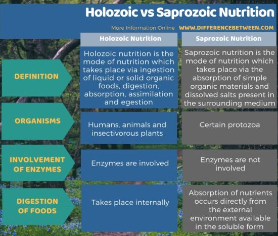 Difference Between Holozoic and Saprozoic Nutrition in Tabular Form