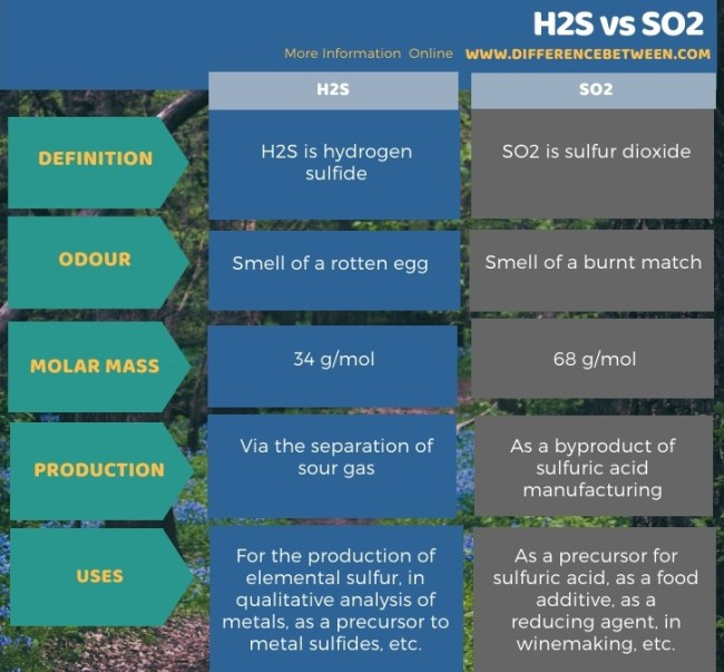 Difference Between H2S and SO2 in Tabular Form