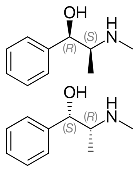 Ephedrine vs Pseudoephedrine in Tabular Form