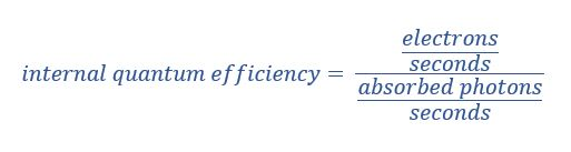 Internal vs External Quantum Efficiency in Tabular Form