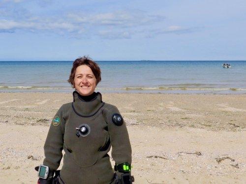 Hélène prête à plonger en Normandie