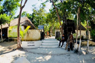 Entrée du site de Dos Ojos au Mexique