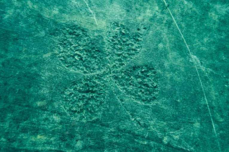 Un signe de trèfle gravé sur les pans de mur de la carrière de la Croisette.