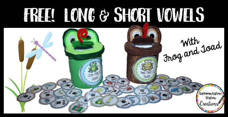 Explore long vowel and short vowel sounds with frog and toad. Hands-on, memorable activity to help children distinguish between long and short vowels. Free printables and directions to create frog and toad.