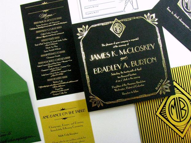 Great Gatsby Art Deco Wedding Invitations Digby Amp Rose