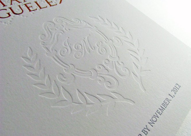 Modern Embossed Wedding Invitations Belly Band