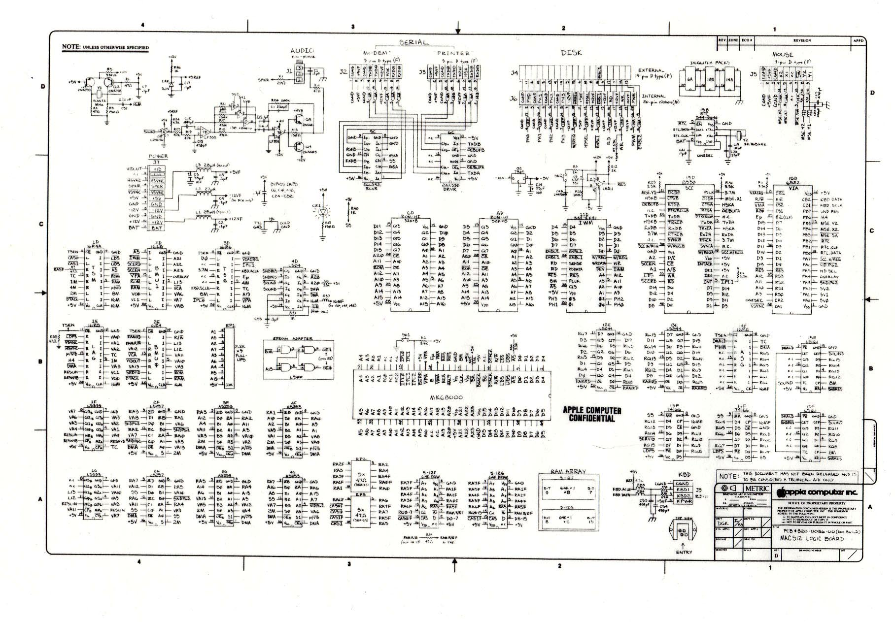 Digibarn Diagrams Original Macintosh 512k Logic Board