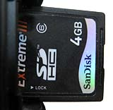 Memory card in card slot