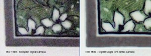 ISO 1600 comparison between a compact=
