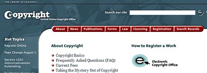 US Copyright office website