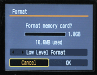 Format a memory card sample menu