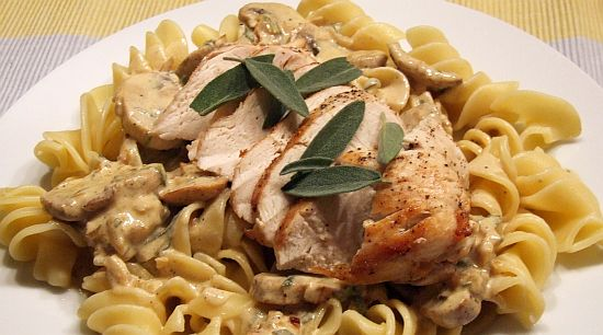 Foto: Hähnchenbrust mit Champigon-Salbei-Sosse und Pasta