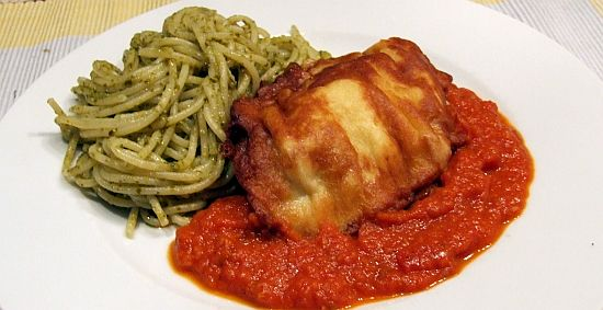 Foto: Piccata Milanese mit Basilikum-Spaghetti (nach Frank Rosin)