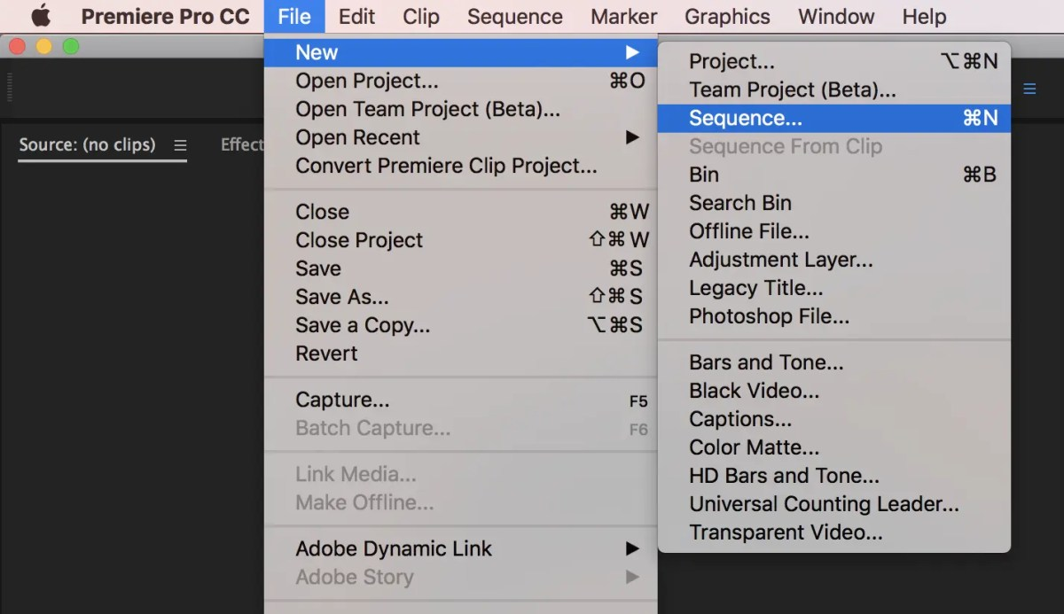 Adobe Premiere Pro New Sequence