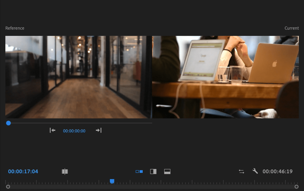 Comparison View within Lumetri Colour Premiere Pro