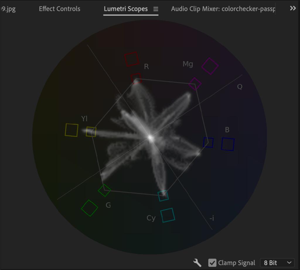 X Rite Color Chart in vectorscope