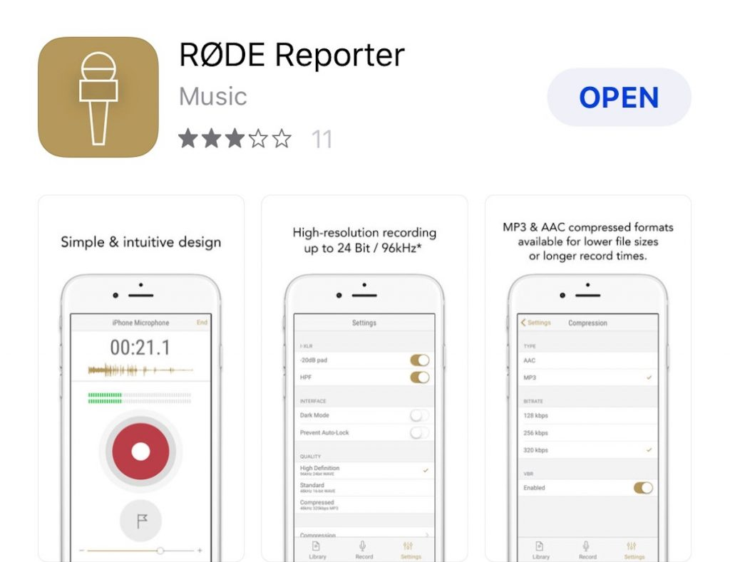 RODE Reporter App - audio recording on iphone