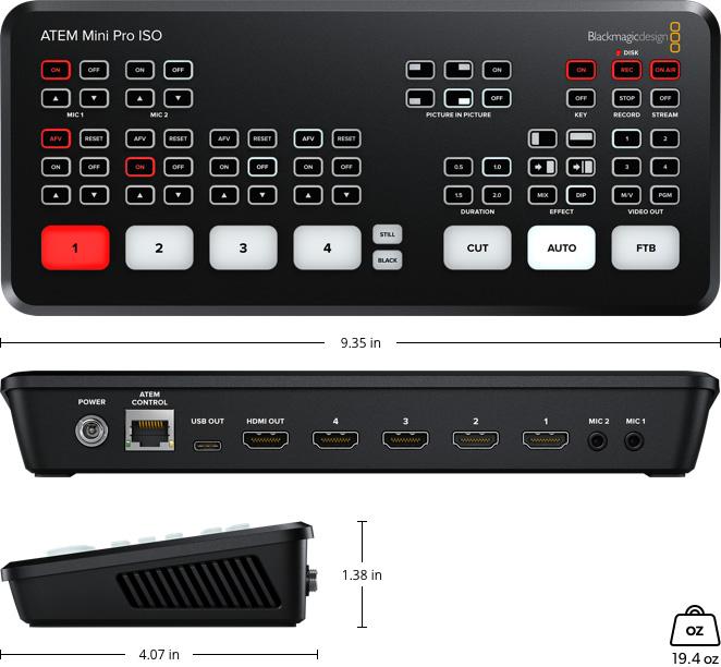 ATEM Mini Pro ISO Specs - video production switcher