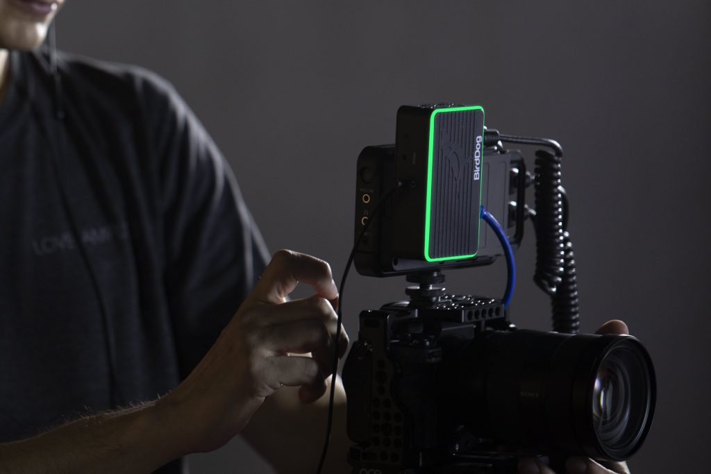 BirdDog NDI Flex 4K Backpack powering camera monitor/recorder