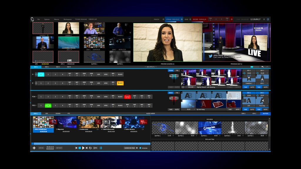 Tricaster video switcher for streaming