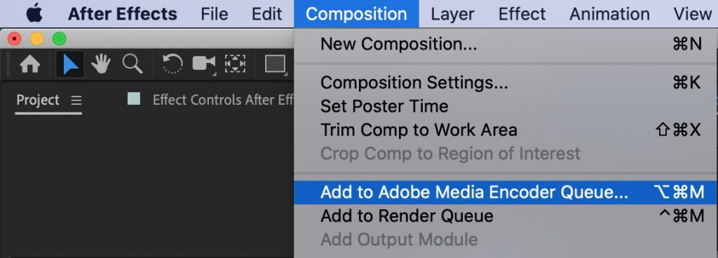 Add to Adobe Media Encoder Queue - Export GIF After Effects