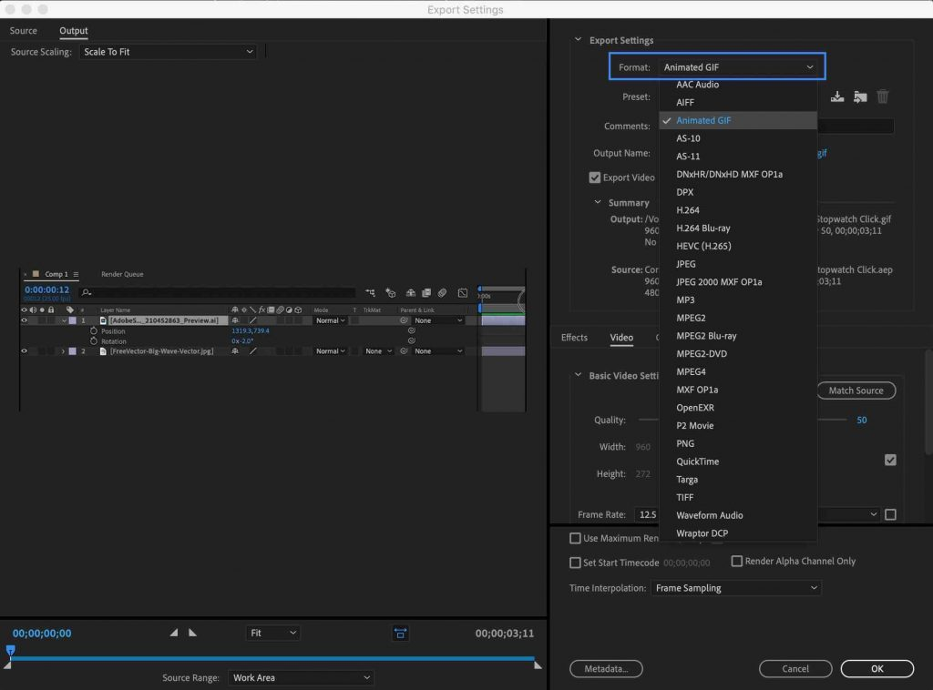 Media Encoder Animated GIF - After Effects Export