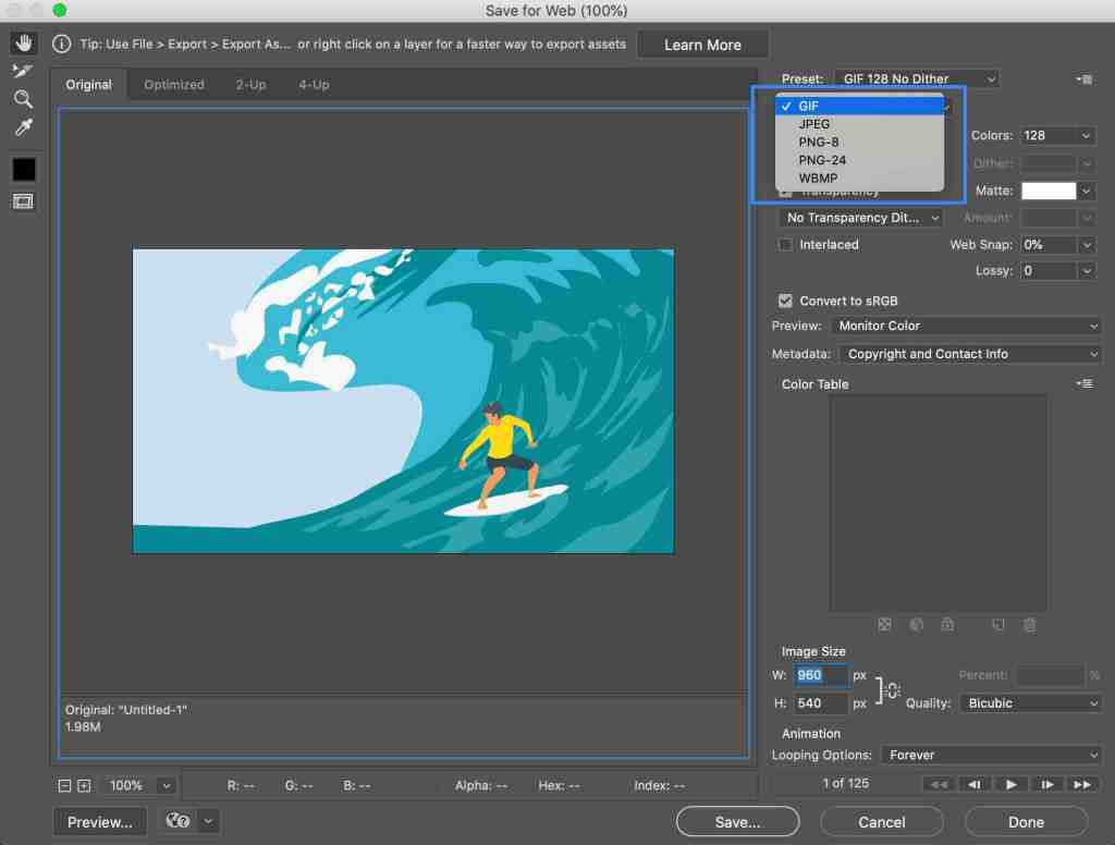 Photoshop Export GIF Dialogue - After Effects