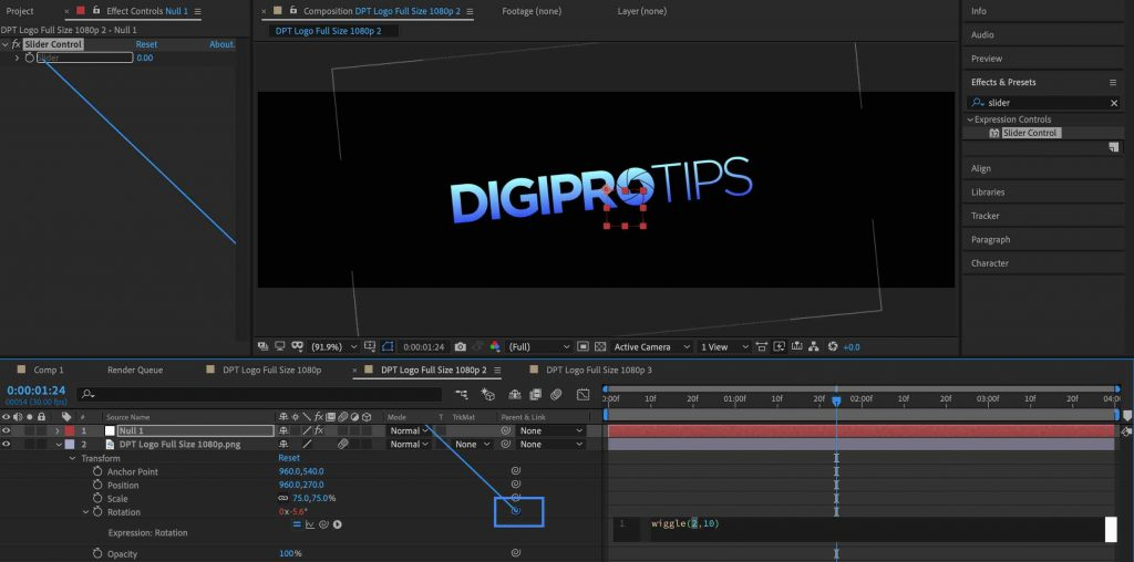 Pickwhip wiggle to slider control - Wiggle Expression After Effects