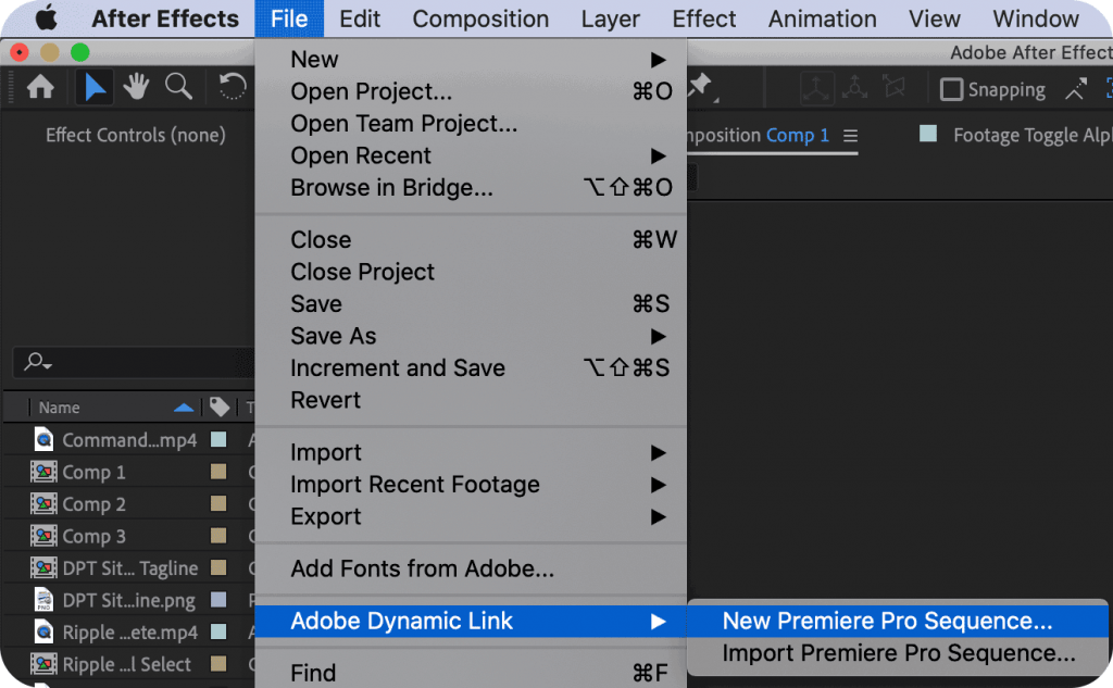 Adobe Dynamic Link New Premiere Pro Sequence