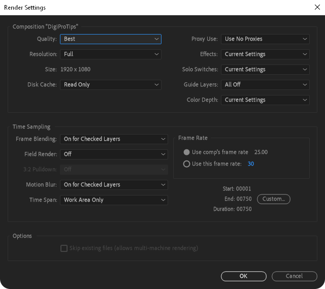 After Effects Render Settings