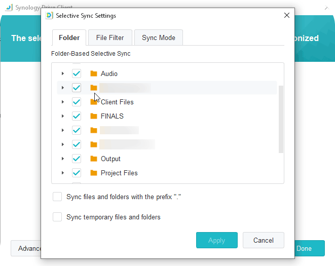 Synology Drive Client Selective Sync Folders