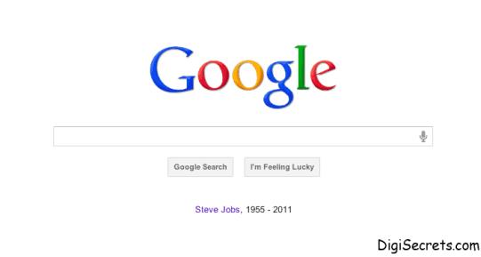 Tribute to Steve Jobs Google Homepage