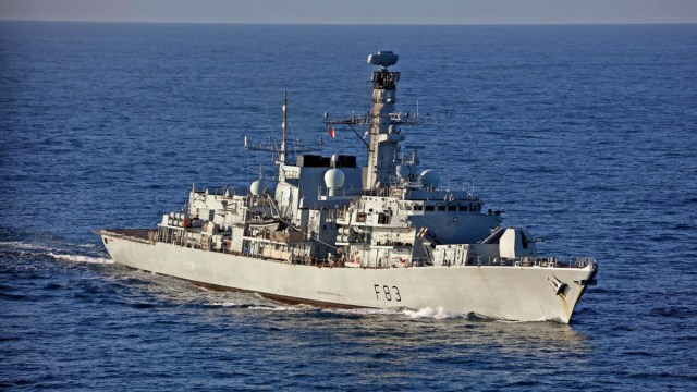 HMS St Albans on exercise off the coast of Cornwall.