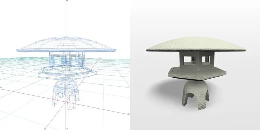 formZ 3D エクステリア 和風 灯篭 灯籠