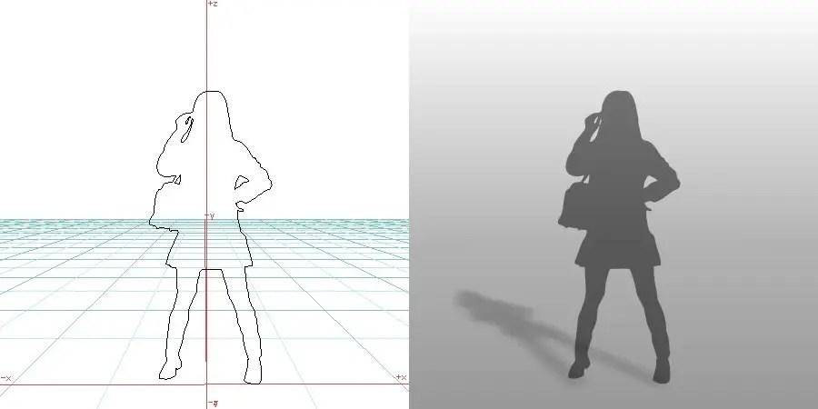 formZ 3D シルエット 女性 鞄を肩にかけた女性 schoolgirl