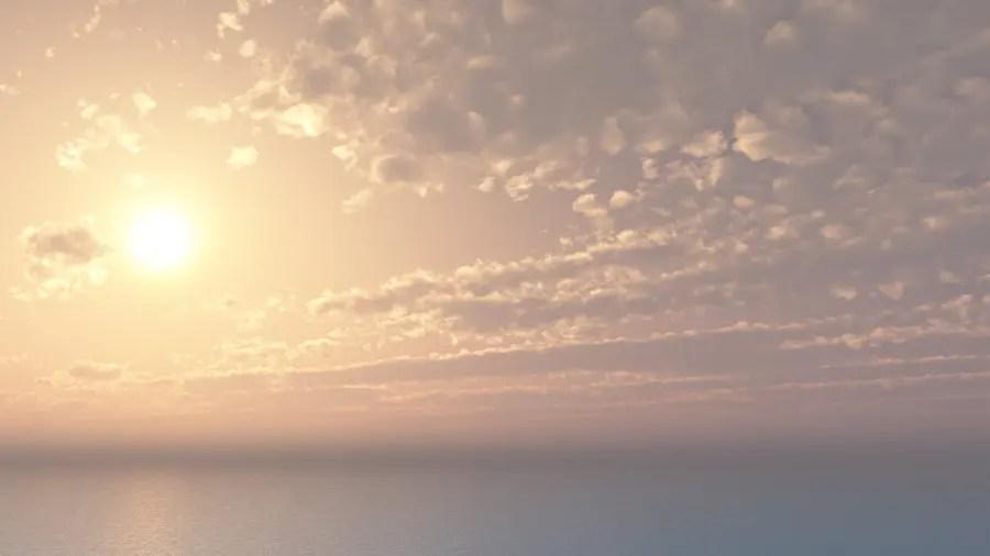 フリーデータ 2D CG 背景画像 空 雲 太陽 海 sky sun cloud sea ocean