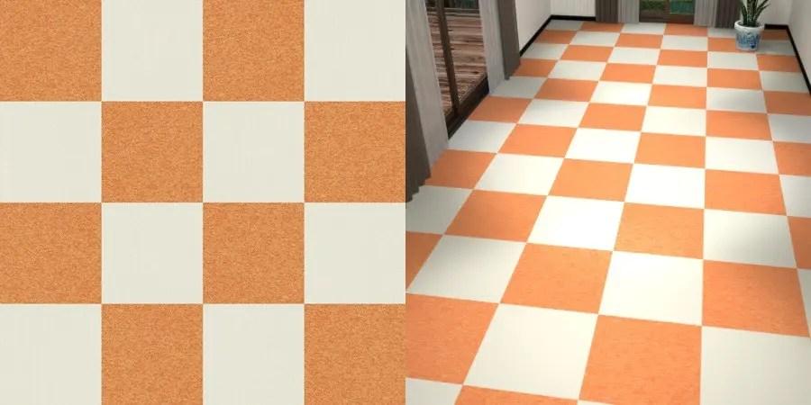 フリーデータ,2D,テクスチャー,texture,JPEG,タイルカーペット,tile,carpet,白色,しろ,ホワイト,white,橙,オレンジ色,orange,市松貼り,2色市松